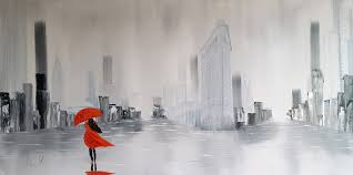 photograph of a painting of a red lady in new york city with the flat iron
