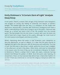 Theres A Certain Slant Of Light Analysis Essay Example