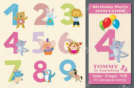 kids birthday party invitations kids birthday anniversary numbers with cartoon animals and birthday