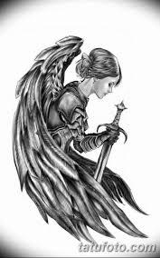 эскизы тату девушек ангелов 08032019 017 Tattoo Sketches