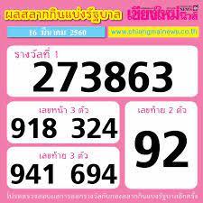 ผลสลาก กินแบ่งรัฐบาล งวดวันที่ 16 มี.ค.60 - Chiang Mai News