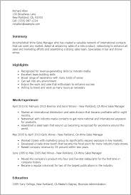 Resume Templates: Wine Sales Manager