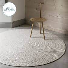 custom made cable knit modern round hand braided woven wool rug white