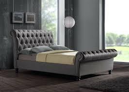Upholstered Sleigh Bed Grey King Size Sleigh Bed Frame Upholstered