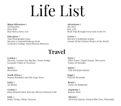 life list let s do something different life list goals