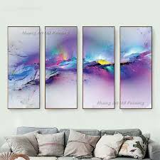 2018 new hand painted abstract 4p color oil painting on canvas for living room decor modern