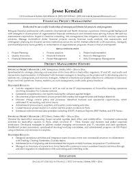 Sample Resume For Project Manager financial project management
