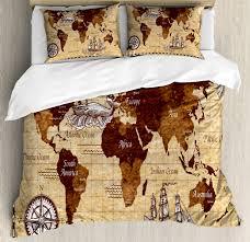 map duvet cover set with pillow shams retro