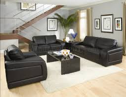 Living Room Leather Sets Black Bonded Leather Modern Living Room W Oversized Padded Arms