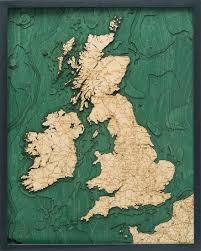 Nautical Wood Charts United Kingdom 3 D Nautical Wood Chart 24 5 X 31