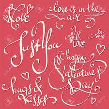 Heureux Valentin Lettrage Vecteur Défini Décorations Valentine Citations De Motivation Douce Damour Et De Bonheur Calligraphie Mignonne