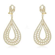 sterling silver gold plated and cz chandelier earrings
