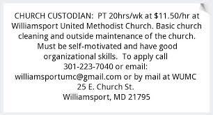 Church Custodian Williamsport United Methodist Church Williamsport Md