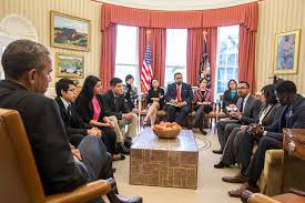 obama oval office. president obama meets with dreamers in the oval office f