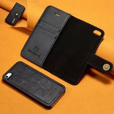 detachable case for iphone 5 s cowhide leather case cover flip magnet wallet 2 in 1