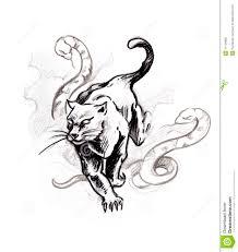 Tattoo эскиза пантеры искусства иллюстрация штока иллюстрации