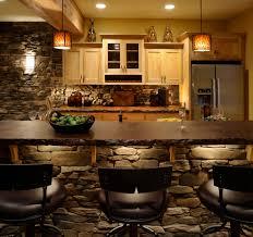 basement bar stone. Basement Bar Ideas With Stone Kitchen Rustic Backsplash Recessed Lighting Wood Cabinets T