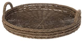 Round Serving Tray in Lampakanay and Wicker contemporary-serving-trays