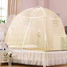 Baby & Adult Portable Lace Folding Yurt Door Mosquito Nets Bed Canopy with Stand (Yellow)
