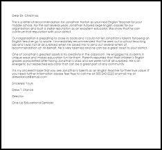 english teacher re mendation letter