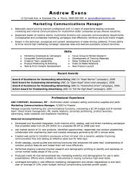 Marketing And Communications Resume New Grad Entry Level