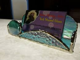 Handmade Iridescent Light Blue Stained Glass Business Card Holder By