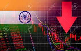 India Bombay Stock Exchange Market Crisis Red Market Price Down