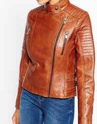 lyst barneys originals leather biker jacket with quilting and buckle detail in brown