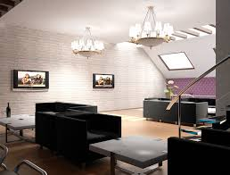 Interior:Outstanding Attic Living Room Design With Black Sofa And Brick Wall  Decoration Maximizing Attic