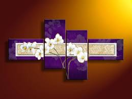 framed 4 panel stunning large purple gold white tulip oil painting flower wall art canvas picture on large white and gold wall art with framed 4 panel stunning large purple gold white tulip oil painting