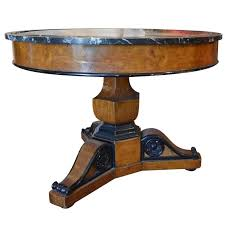 antique walnut burl wood marble top pedestal table with ebonized trim for