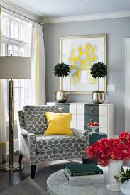 Gray Corner Reading Chair with Canary Yellow Pillow view full size