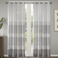 varick gallery valdez woven faux linen striped sheer grommet grommet sheer curtains