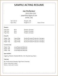 Acting Resume Template For Beginners Awesome Theatre Resume Samples