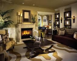 Modern Formal Living Room Comfy Brown Fabric Back Bar Stools Metal Gold Polished Fireplace