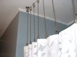 shower curtain rod with chains instead after bathroom gray within custom rods inspirations 10