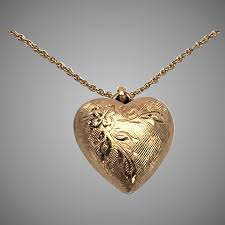 14k etched puffed heart pendant necklace