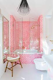 to incorporate pink into bathroom decor