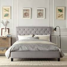 Grey Tufted Upholstered Padded Headboard Plus Floor Lamp And Wainscoting  For Bedroom Decoration Ideas