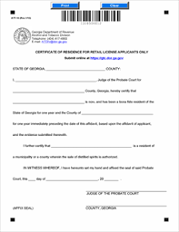 att affidavit form form att 14 fillable certificate of residence for retail liquor