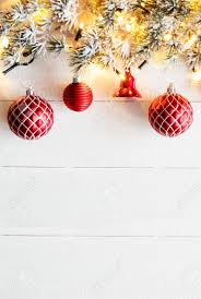 Vertical Red Christmas Banner White Wood Copy Space Stock Photo