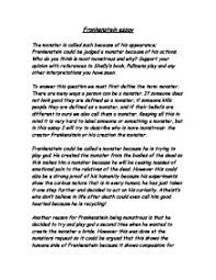 essay on frankenstein co frankenstein essay gcse english marked by teachers com
