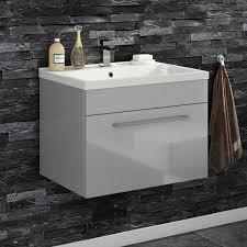 vellamo aspire 600mm wall mounted 1 drawer vanity unit basin intended for wall hung basin vanity