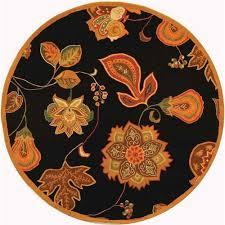 safavieh chelsea black orange 6 ft x 6 ft round area rug