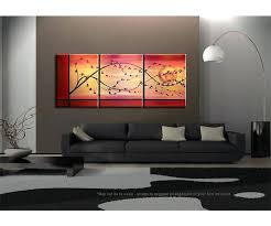 asian wall art cherry blossom painting branch and moon on gold and red canvas acrylic triptych asian wall art  on asian wall art uk with asian wall art zodiac dog wall decor wall art ink asian wall art