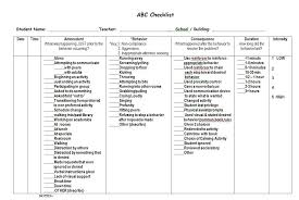 Abc Chart For Autism Abc Checklist Example 5 Cbt Worksheets Behavior Tracking