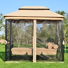 outsunny outdoor 3 person patio daybed canopy gazebo swing tan with mesh walls 5