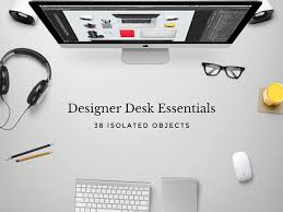 designer office desk isolated objects top view. Grab This Freebie! Designer Office Desk Isolated Objects Top View N