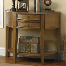 half round entry table furniture oak half moon console table with two drawer and shelf throughout