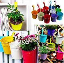 12 x garden metal flower pots wall